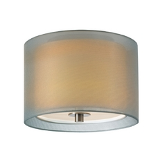 Modern Flushmount Light with Silver Shade in Satin Nickel Finish