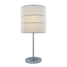 Table Lamp with White Paper Shade in Polished Steel Finish