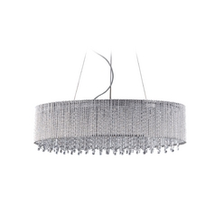 Modern Drum Pendant Light in Polished Chrome Finish