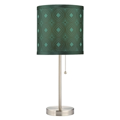 Design Classics Lighting Pull-Chain Table Lamp with Green Patterned Drum Shade 1900-09 SH9477
