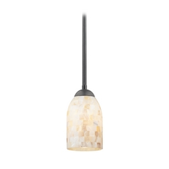 Design Classics Lighting Mini-Pendant Light with Mosaic Glass Glass 581-07 GL1026D
