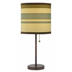Design Classics Lighting Bronze Pull-Chain Table Lamp with Striped Drum Shade 1900-604 SH9540