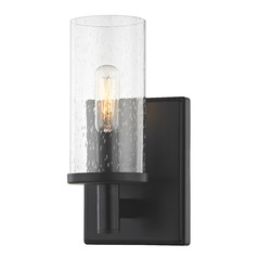 Seeded Glass Sconce Black