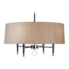 Robert Abbey Jonathan Adler Ventana 1-Tier 4-Light Chandelier in Polished Nickel / Ebony Wood