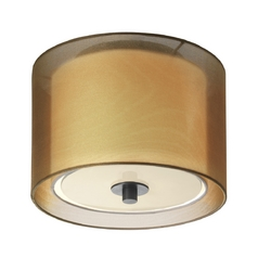 Modern Flushmount Light with Brown Shade in Black Brass Finish