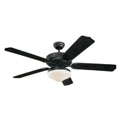 Ceiling Fan with Light with White Glass in Matte Black / Matte Opal Finish