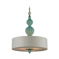 Drum Pendant Light in Aged Silver Finish - Includes Recessed Adapter Kit