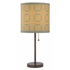 Design Classics Lighting Bronze Table Lamp with Pull-Chain and Tan / Green Pattern Drum Shade 1900-604 SH9543