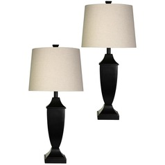 Stylecraft Bronze Wood Table Lamp Set