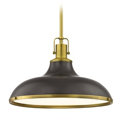 Industrial Bronze Pendant Light with Brass Accents 15.63-Inch Wide