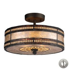 Mica Filigree Tiffany Bronze Semi-Flushmount Light - Includes Recessed Adapter Kit