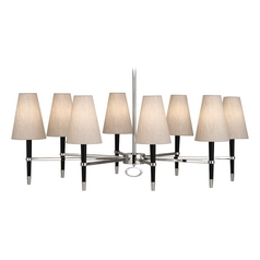 Mid-Century Modern Chandelier Polished Nickel / Wood Jonathan Adler Ventana by Robert Abbey