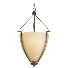 Progress Pendant Light with Brown Glass in Antique Bronze Finish