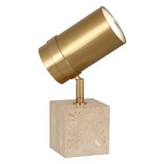 Robert Abbey Jonathan Adler Bristol Antique Brass / Travertine Table Lamp with Cylindrical Shade