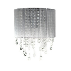 Avenue Lighting Beverly Drive Crystal Sconce with Silver Silk Shade