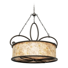 Kalco Lighting Whitfield Antique Copper Pendant Light with Drum Shade