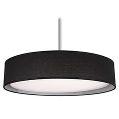 Modern Brushed Nickel LED Pendant with Black Shade 3000K 1289LM