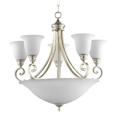Quorum Lighting Bryant Aged Silver Leaf Chandeliers with Center Bowl
