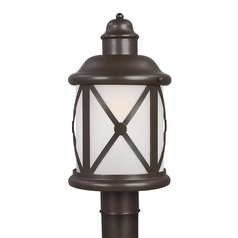 Etched Seeded Glass Post Light Bronze Sea Gull Lighting