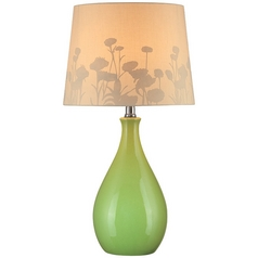 Modern Green Table Lamp with Brown Paper Barrel Shade