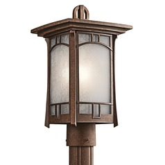 Kichler Post Light with White Mica Shade in Aged Bronze Finish