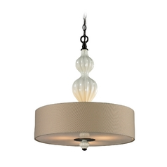 Drum Pendant Light with White Shade in Aged Bronze Finish