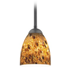 Design Classics Lighting Modern Mini-Pendant Light with Brown Art Glass 581-07  GL1005MB