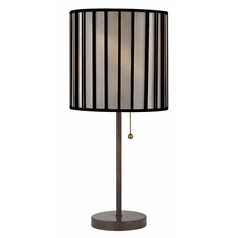 Bronze Pull-Chain Table Lamp and Drum Lamp Shade