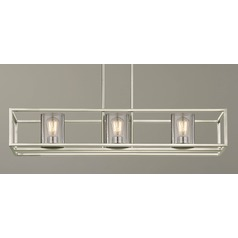 Seeded Glass Linear Chandelier Satin Nickel 3 Lt