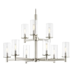9-Light Modern Chandelier Seeded Glass Satin Nickel