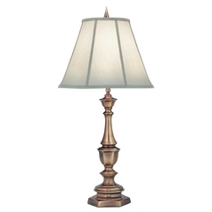Stiffel Table Lamp with White Shade in Antique Brass Finish