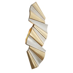 Modern Art Deco LED Sconce Gold / Silver Leaf Taffeta by Corbett Lighting