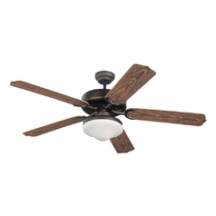 Ceiling Fan with Light with White Glass in Roman Bronze / Matte Opal Finish