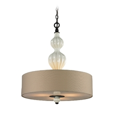 Drum Pendant Light with White Shades in Aged Bronze Finish