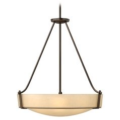 Modern Pendant Light with Amber Glass in Olde Bronze Finish