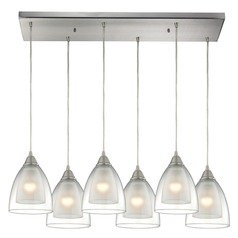 Elk Lighting Layers Satin Nickel Multi-Light Pendant with Bowl / Dome Shade