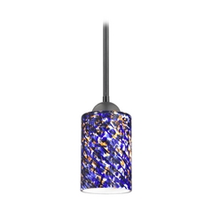 Design Classics Lighting Modern Mini-Pendant Light with Blue Glass 581-07  GL1009C