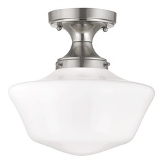 12-Inch Schoolhouse Ceiling Light in Satin Nickel Finish