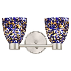 Aon Fuse Art Glass Satin Nickel Bathroom Light with Bell Glass