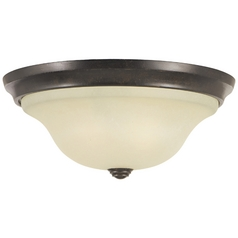 Flushmount Light with Beige / Cream Glass in Grecian Bronze Finish