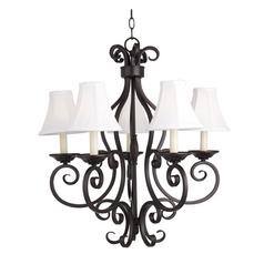 Chandelier with White Shades in Oil Rubbed Bronze Finish