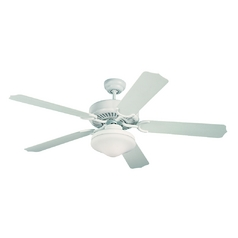 Monte Carlo Fans Ceiling Fan with Light with White Glass in White / Matte Opal Finish 5WF52WHD-L