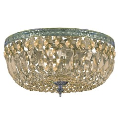 Crystal Flushmount Light in Aged Brass Finish