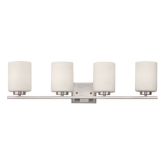 Contemporary Satin Nickel Bathroom Light with Four Lights