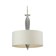 Elk Lighting Drum Pendant Light with White Shade in Silver Leaf Finish 46033/4