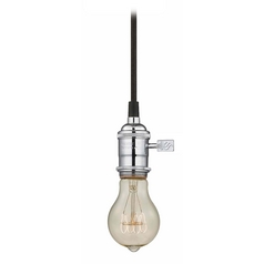 Design Classics Lighting Chrome Vintage Socket Mini-Pendant Light with Filament Bulb - 40-Watts CA1-26 40A19 FILAMENT