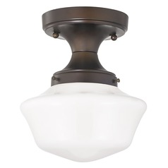8-Inch Wide Bronze Vintage Style Schoolhouse Ceiling Light