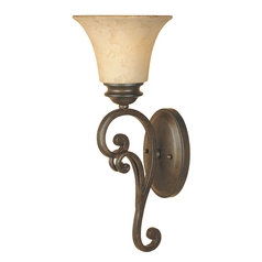 Sconce Wall Light with Amber Glass in Forged Sienna Finish