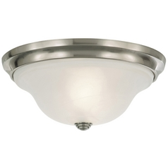 Flushmount Light with Alabaster Glass in Brushed Steel Finish
