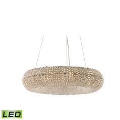 Elk Lighting Crystal Ring Polished Chrome LED Pendant Light with Oblong Shade